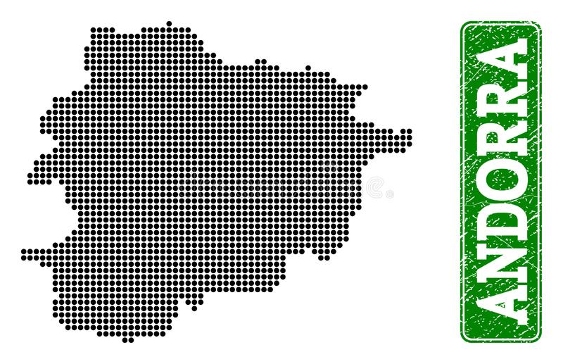 Dotted Map of Andorra and Grunge Rectangle Rounded Caption vector illustration