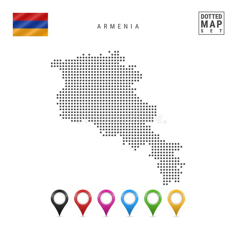 Vector Dotted Map of Armenia. Simple Silhouette of Armenia. National Flag of Armenia. Set of Multicolored Map Markers stock illustration
