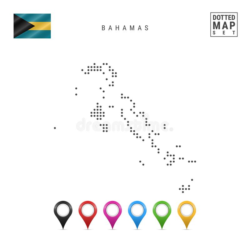 Vector Dotted Map of Bahamas. Simple Silhouette of Bahamas. National Flag of Bahamas. Set of Multicolored Map Markers stock illustration