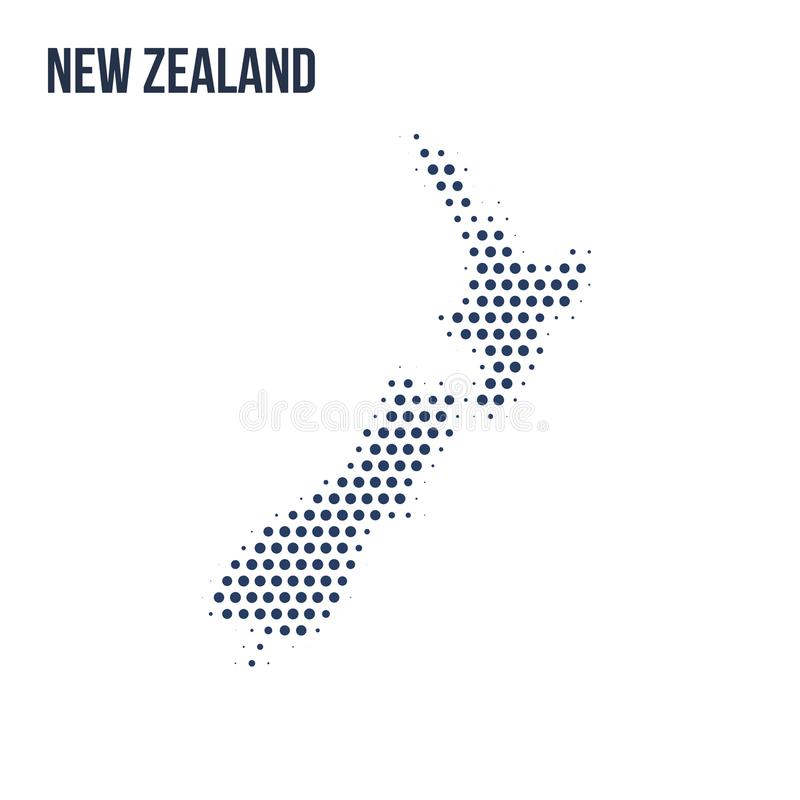 Dotted map of New Zealand isolated on white background. royalty free illustration