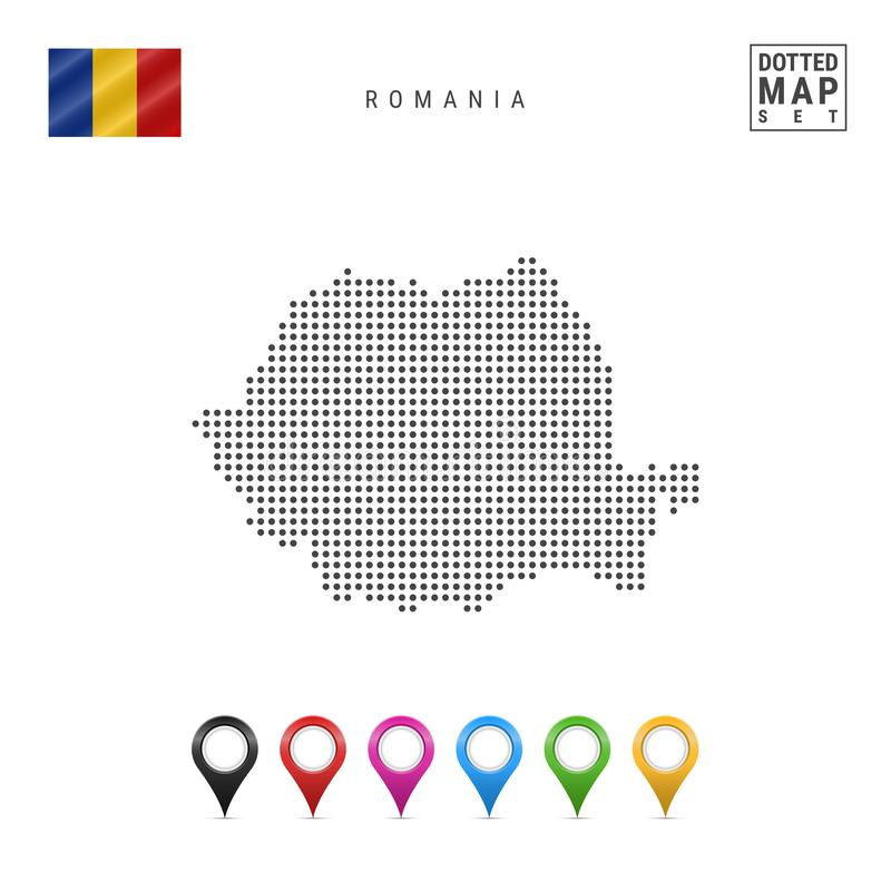 Vector Dotted Map of Romania. Simple Silhouette of Romania. The National Flag of Romania. Multicolored Map Markers. Dotted Map of Romania. Simple Silhouette of stock illustration