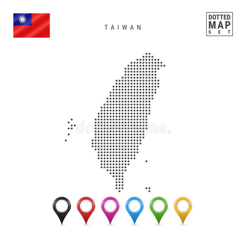 Vector Dotted Map of Taiwan. Simple Silhouette of Taiwan. The National Flag of Taiwan. Set of Multicolored Map Markers. Dotted Map of Taiwan. Simple Silhouette vector illustration