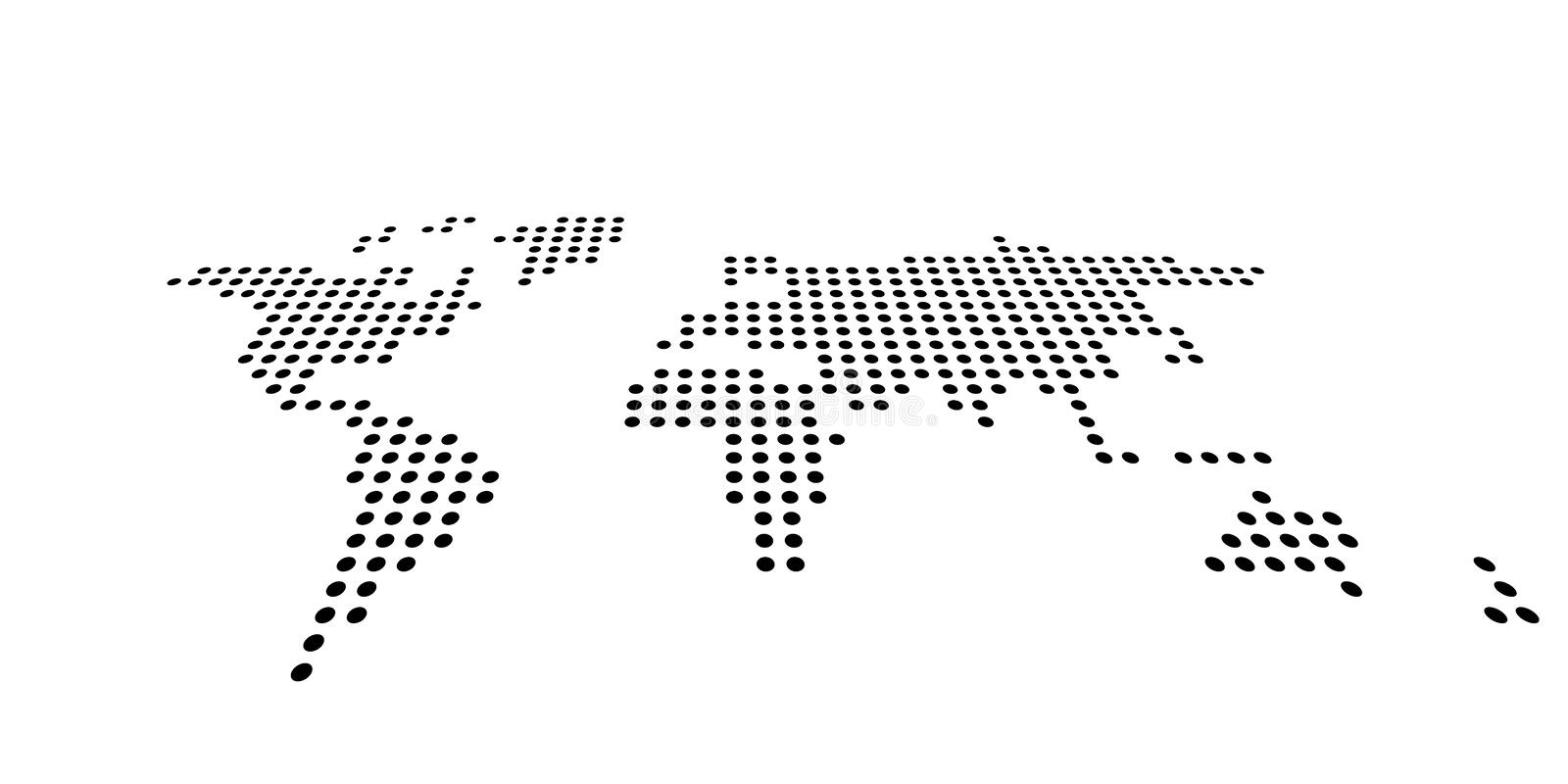 Dotted map of World. Side view distortion. Black vector dots on white background.  stock illustration