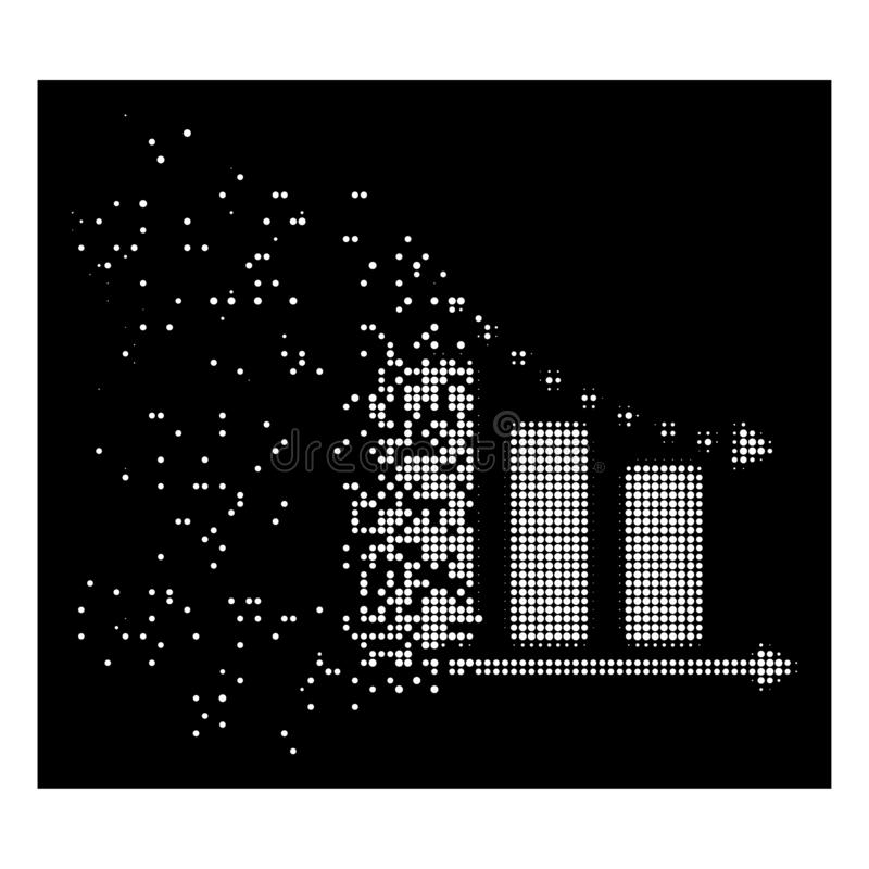 White Destructed Pixel Halftone Dotted Negative Trend Icon royalty free illustration