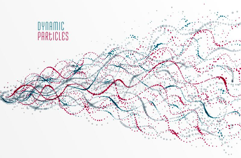 Dotted particle array flowing vector background, life forms bio theme microscopic design, dynamic dots elements in motion vector illustration