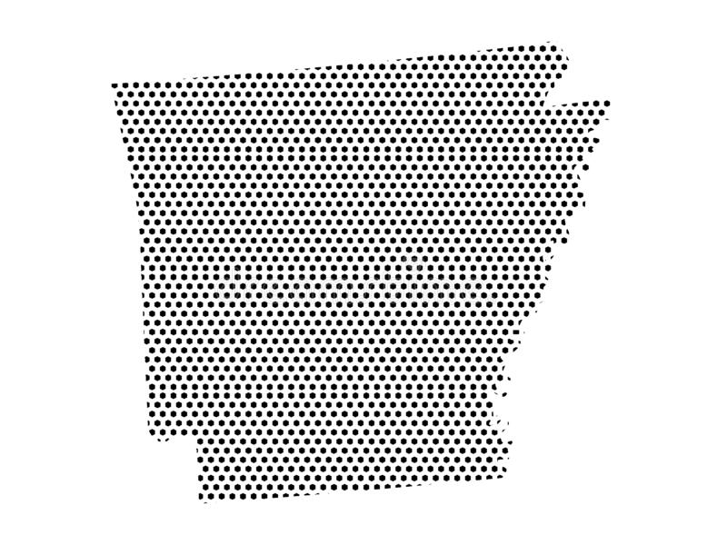 Dotted Pattern Map of US State of Arkansas. Vector illustration of the Dotted Pattern Map of US State of Arkansas vector illustration