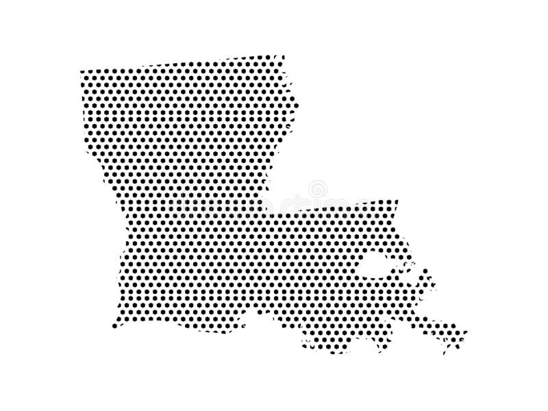 Dotted Pattern Map of US State of Louisiana. Vector illustration of the Dotted Pattern Map of US State of Louisiana royalty free illustration