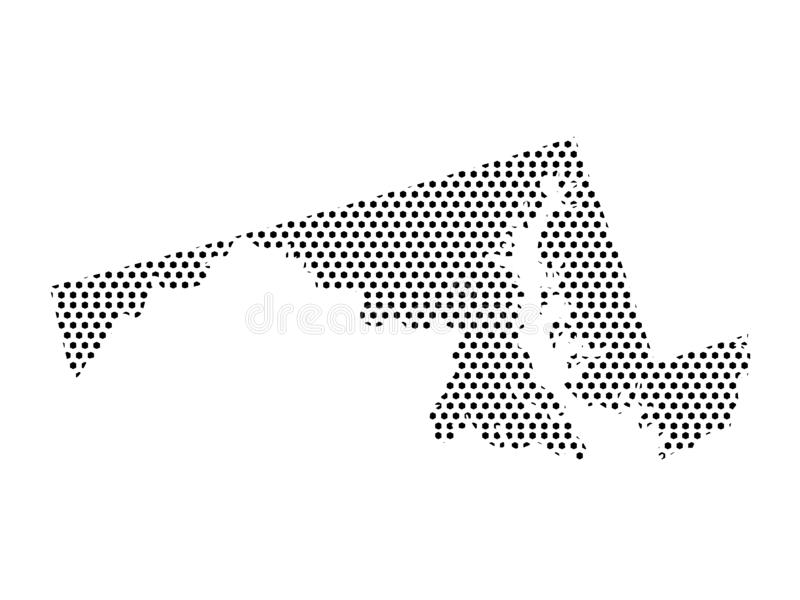 Dotted Pattern Map of US State of Maryland. Vector illustration of the Dotted Pattern Map of US State of Maryland vector illustration