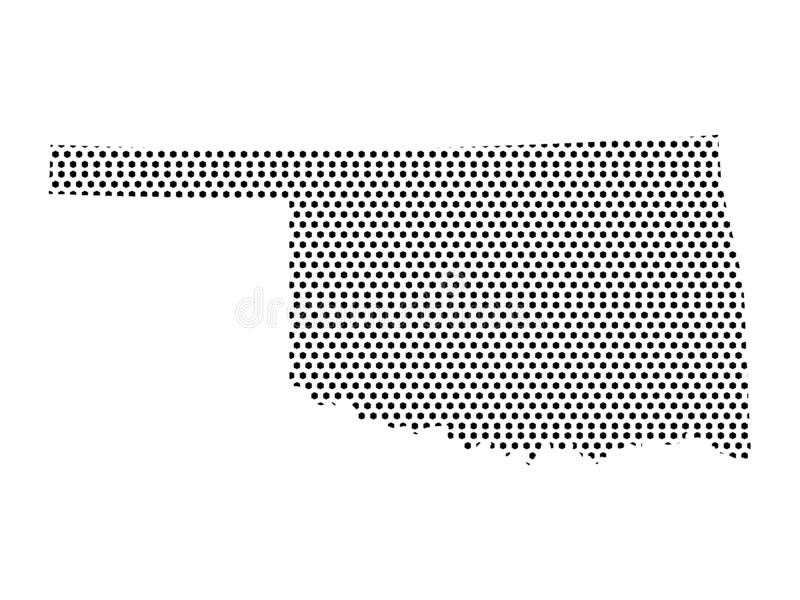 Dotted Pattern Map of US State of Oklahoma. Vector illustration of the Dotted Pattern Map of US State of Oklahoma stock illustration