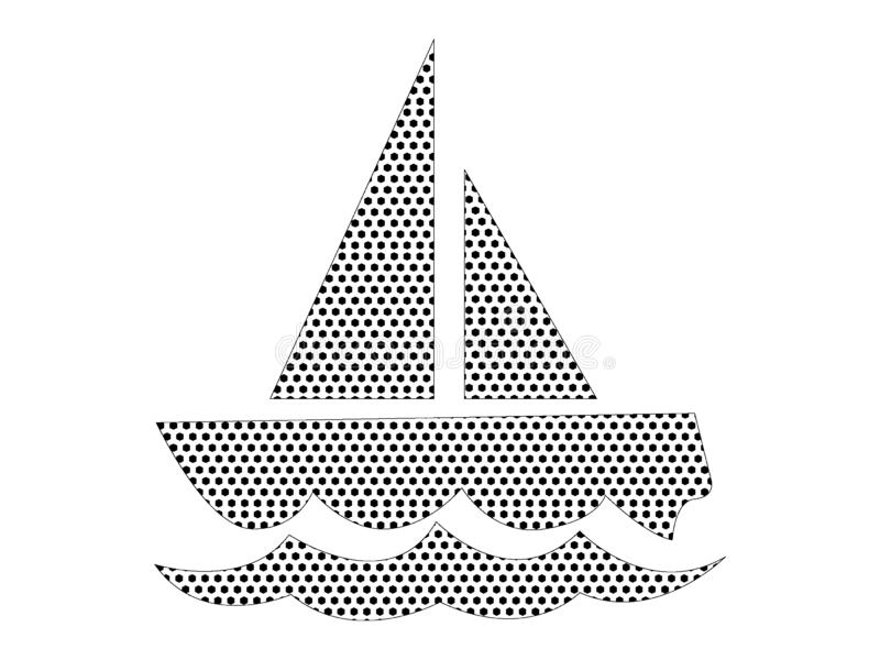 Dotted Pattern Picture of a Fishing Boat. Vector illustration of the Dotted Pattern Picture of a Fishing Boat vector illustration