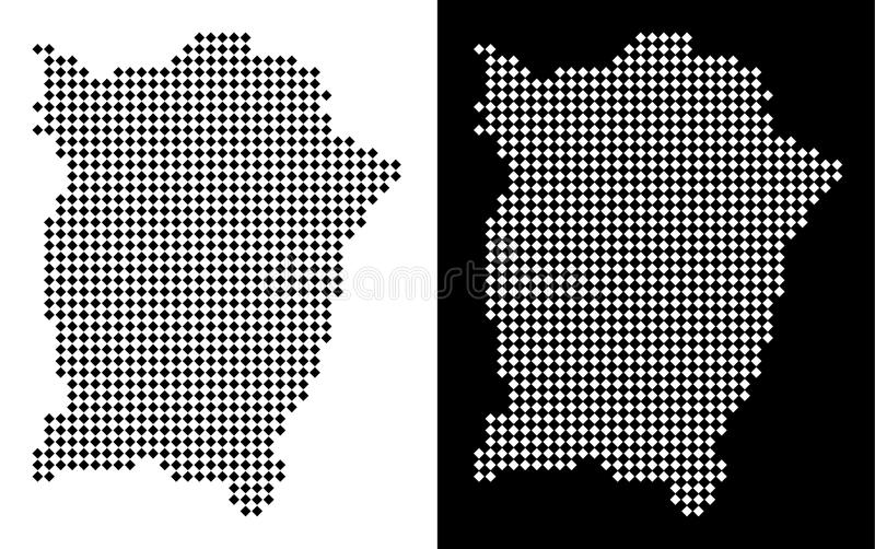 Dotted Penang Island Map. Vector rhombus pixel Penang Island map. Abstract geographic maps in black and white colors on white and black backgrounds. Penang vector illustration