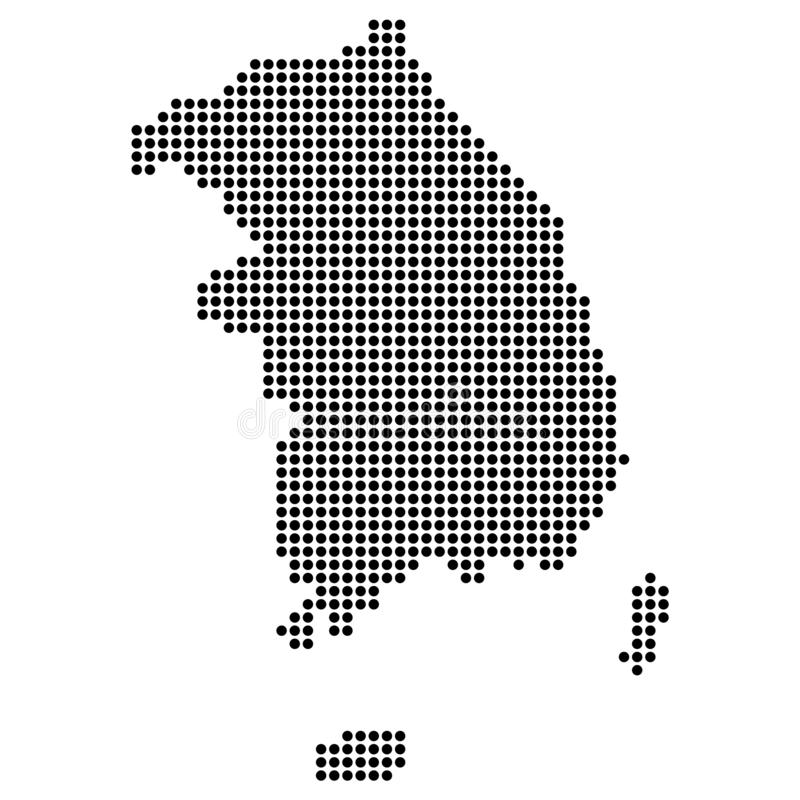 Dotted - Point South Korea Map. Simple Design stock illustration