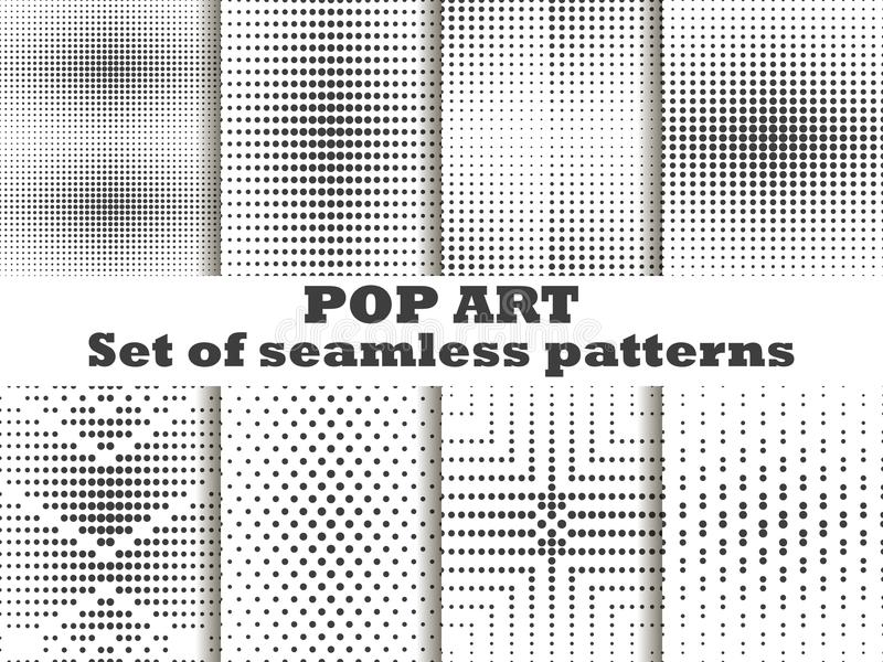 Dotted, Pop Art seamless pattern set. Halftone dots background. Black and white color. Vector royalty free illustration