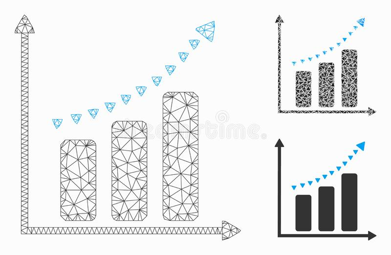 Dotted Positive Trend Vector Mesh Wire Frame Model and Triangle Mosaic Icon. Mesh dotted positive trend model with triangle mosaic icon. Wire frame polygonal vector illustration