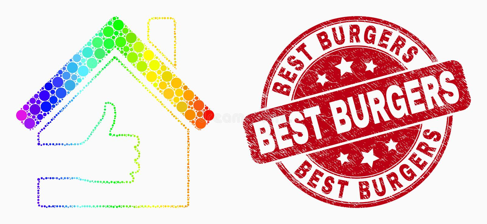 Vector Bright Dotted Best House Icon and Grunge Best Burgers Stamp Seal royalty free illustration