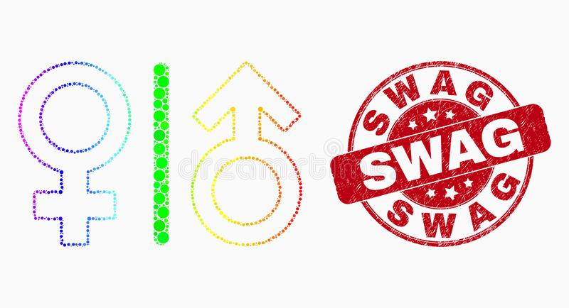 Vector Bright Pixelated Gender Symbols Icon and Scratched Swag Seal. Dotted rainbow gradiented gender symbols mosaic pictogram and Swag stamp. Red vector rounded royalty free illustration