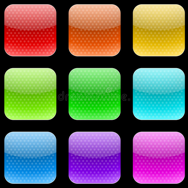 Dotted rounded square buttons vector illustration