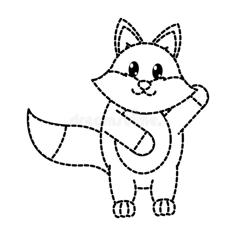 Dotted shape adorable fox wild animal with hand up. Vector illustration vector illustration