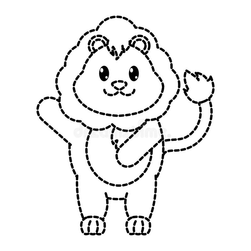 Dotted shape adorable lion wild animal with hand up. Vector illustration vector illustration