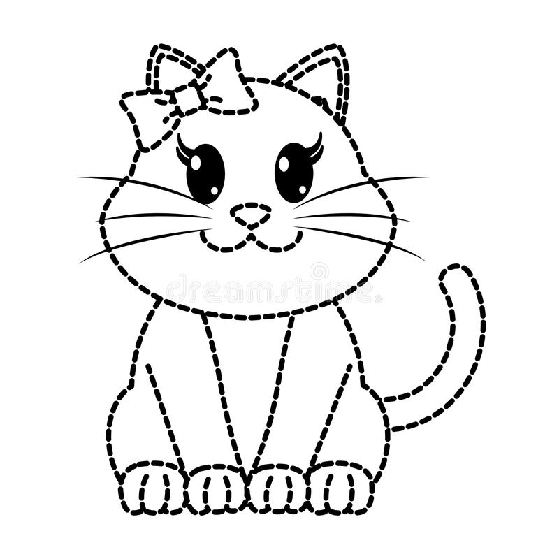 Dotted shape female cat cute animal with ribbon bow. Vector illustration vector illustration