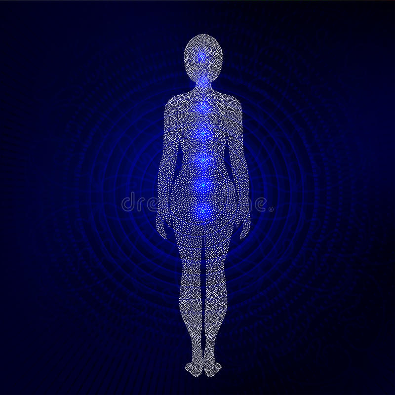 Dotted silhouette of yoga woman with chakra symbols. vector illustration