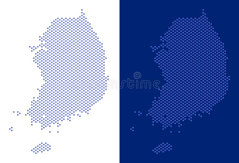 Dotted South Korea Map. Dot South Korea map. Vector geographic map on white and blue backgrounds. Vector collage of South Korea map done of round items stock illustration