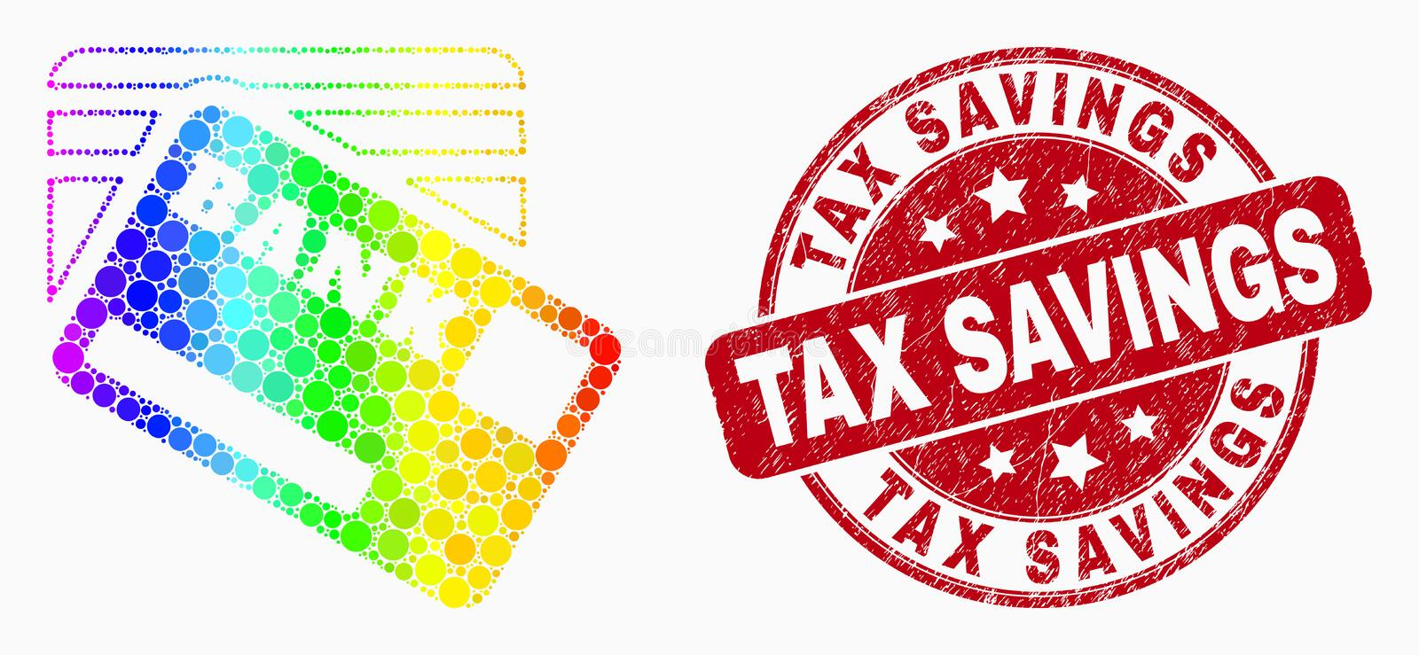 Vector Bright Dotted Bank Cards Icon and Scratched Tax Savings Watermark. Dotted spectral bank cards mosaic icon and Tax Savings seal stamp. Red vector round vector illustration