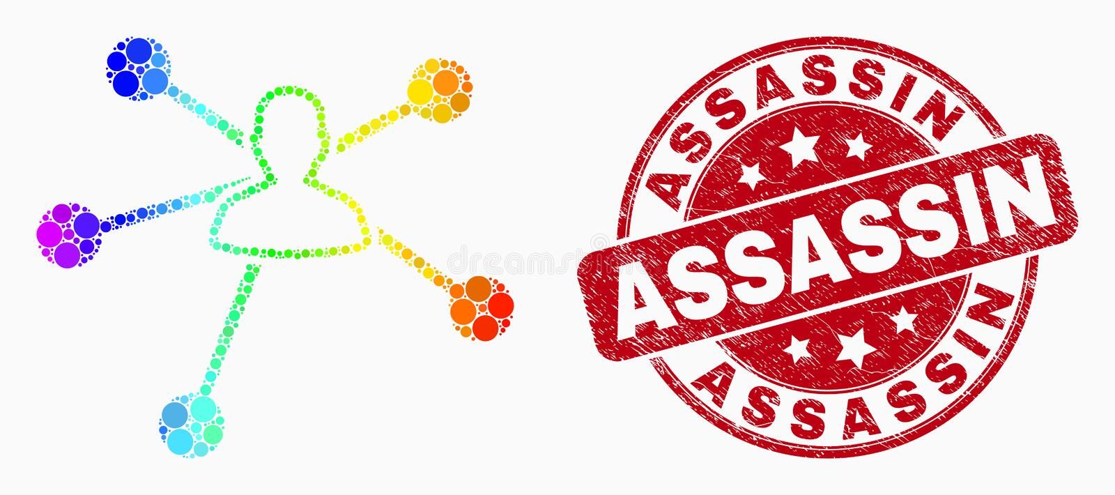 Vector Spectral Dotted User Links Icon and Grunge Assassin Stamp Seal vector illustration