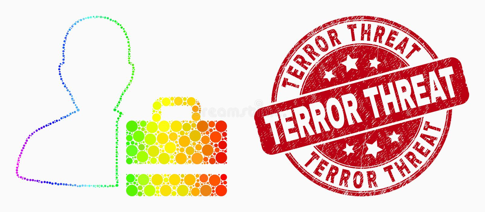 Vector Spectrum Dot Person Case Icon and Distress Terror Threat Seal. Dotted spectrum person case mosaic pictogram and Terror Threat seal stamp. Red vector stock illustration