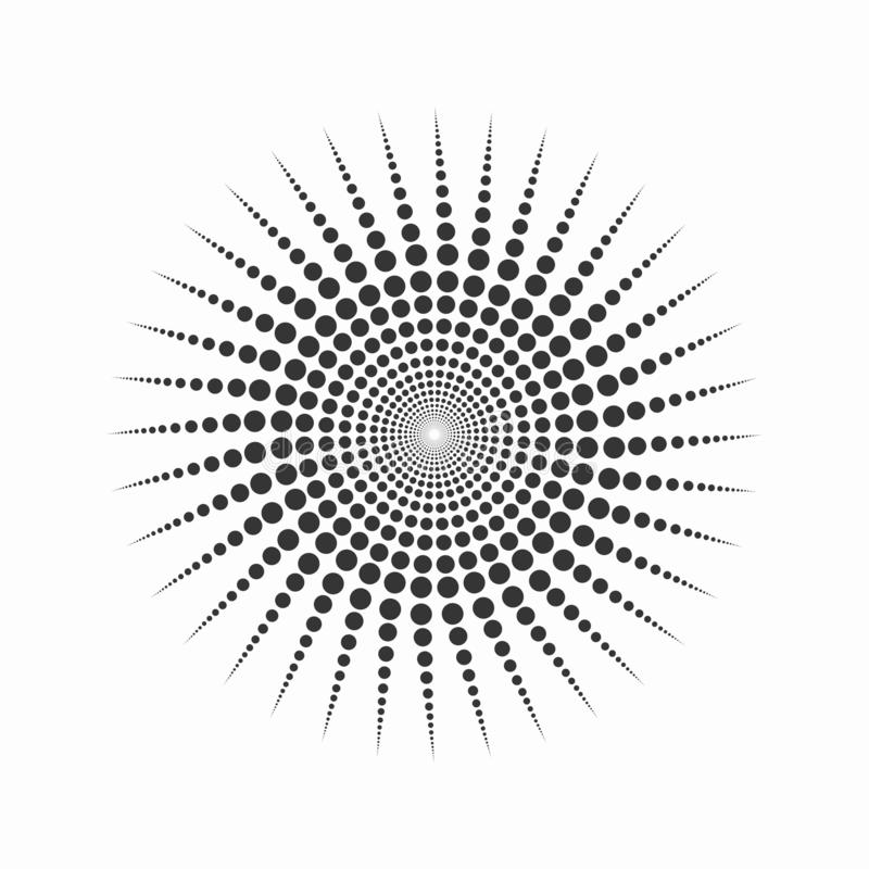 Dotted spiral Black and white mandela circular motif vector design stock photography