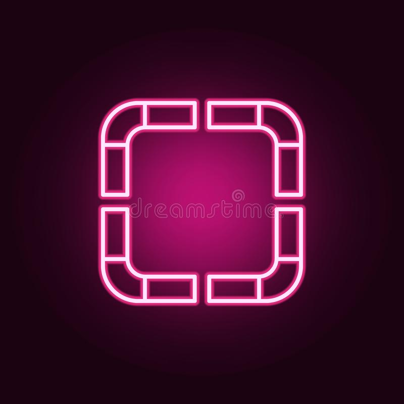 dotted square neon icon. Elements of web set. Simple icon for websites, web design, mobile app, info graphics vector illustration