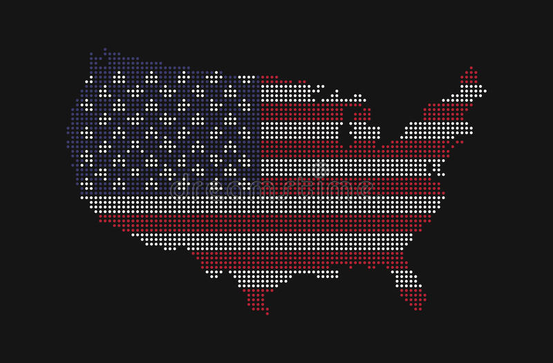 Dotted style map of USA and america flag pattern royalty free illustration
