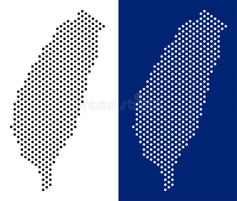 Dotted Taiwan Island Map. Pixel Taiwan Island map. Vector geographic map on white and blue backgrounds. Vector mosaic of Taiwan Island map done with circle royalty free illustration