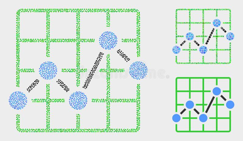 Dotted Vector Chart Grid Icons. Dot and mosaic chart grid icons. Vector icon of chart grid organized of random spheric points. Other pictogram is organized from royalty free illustration