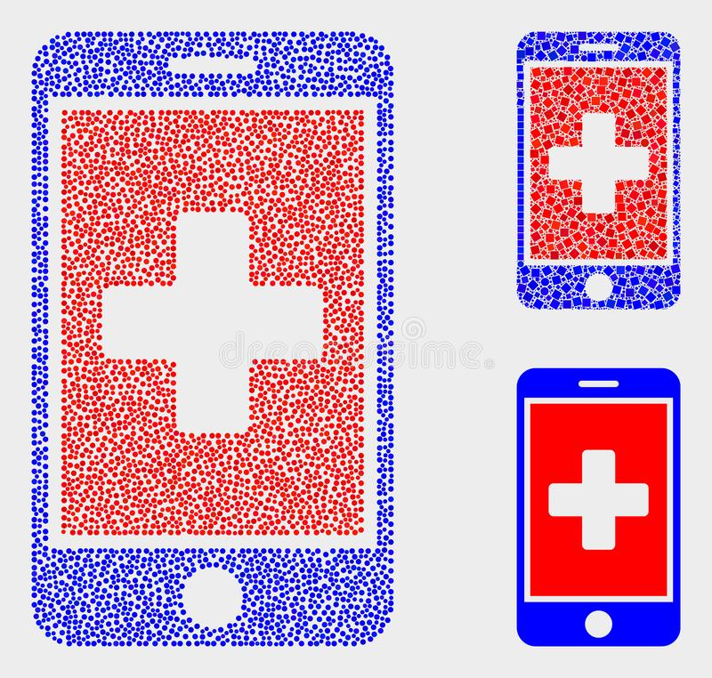 Dotted Vector Medical Mobile App Icons. Dot and mosaic medical mobile app icons. Vector icon of medical mobile app organized of randomized spheric elements royalty free illustration