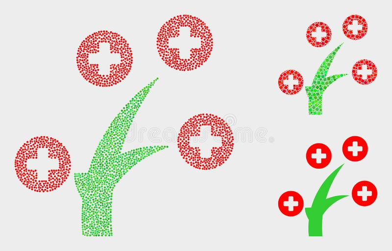 Dotted Vector Medical Tree Icons. Pixelated and mosaic medical tree icons. Vector icon of medical tree composed of randomized circle elements. Other pictogram is stock illustration