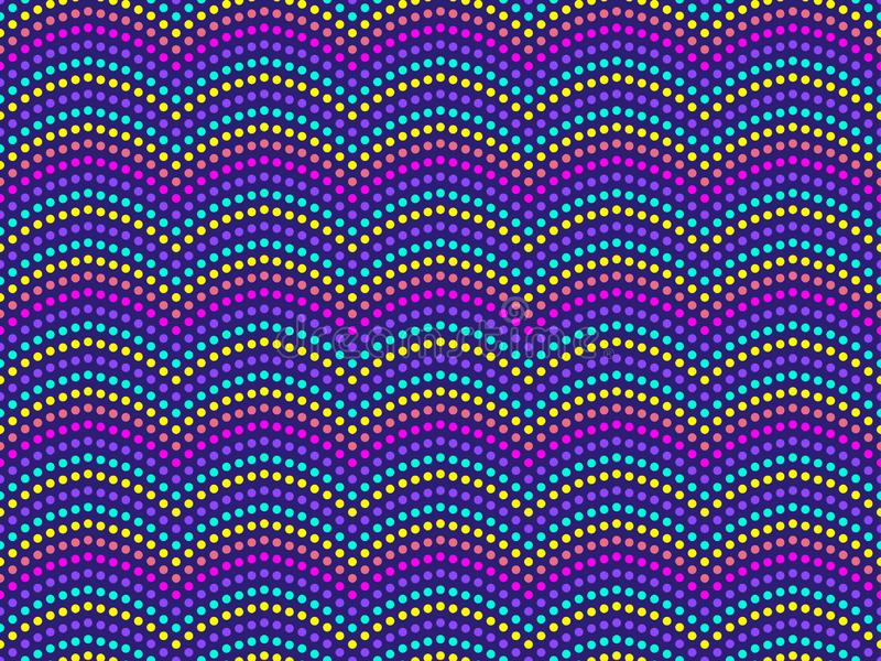 Dotted wave seamless pattern. Pop art background. Modern trend background. Vector stock illustration