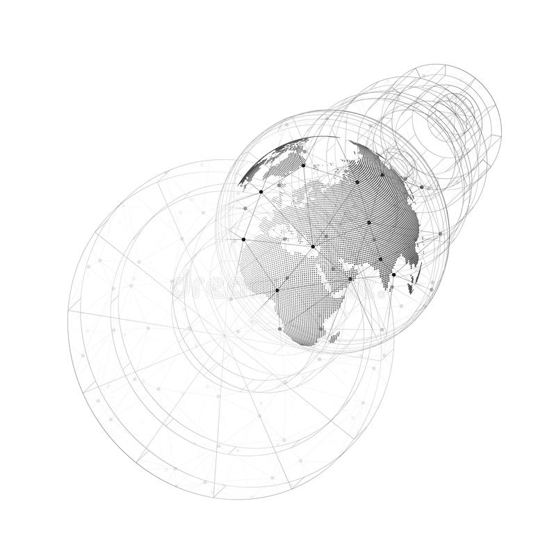 Dotted world globe with abstract construction, connecting lines and dots, molecules. 3D dotted world globe with abstract construction, connecting lines and dots stock illustration