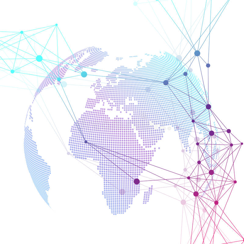 Dotted world globe. Scientific geometric background with connecting lines and dots. Global network connection. Big data vector illustration