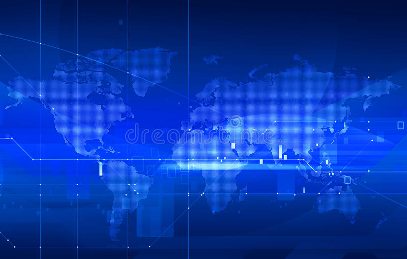 Dotted world map. Dotted digital world map on high technology background