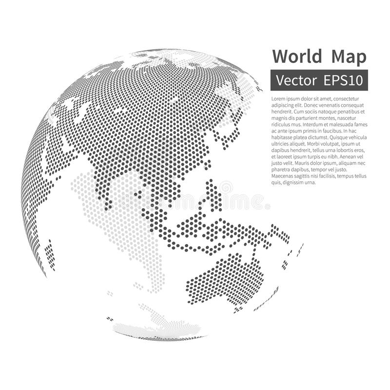 Dotted World Map Background. Earth Globe. Globalization Concept. royalty free illustration