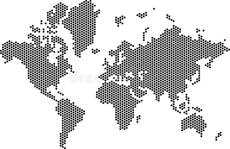Download Dotted World Map stock vector. Illustration of clipart - 58208158