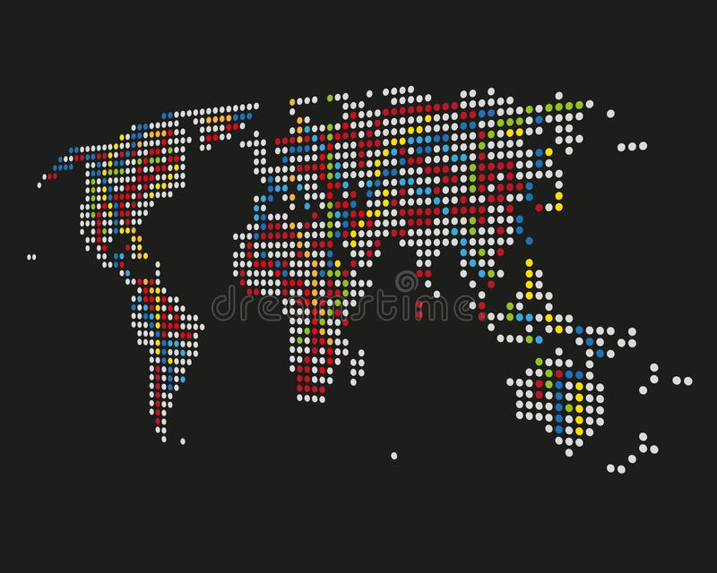 Dotted world map on black background - color version. Dotted world map on black background color version. Can be used for your business, workflow and more royalty free illustration