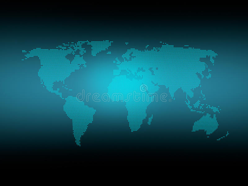 Dotted world map with glow royalty free stock photos