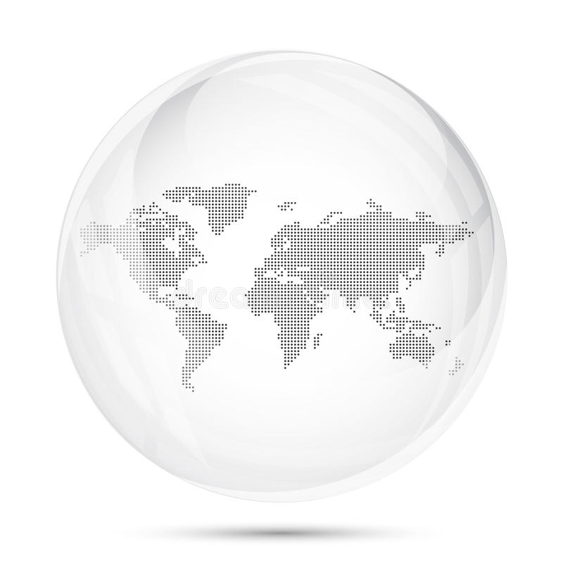 Dotted world map in a gray glass sphere royalty free illustration