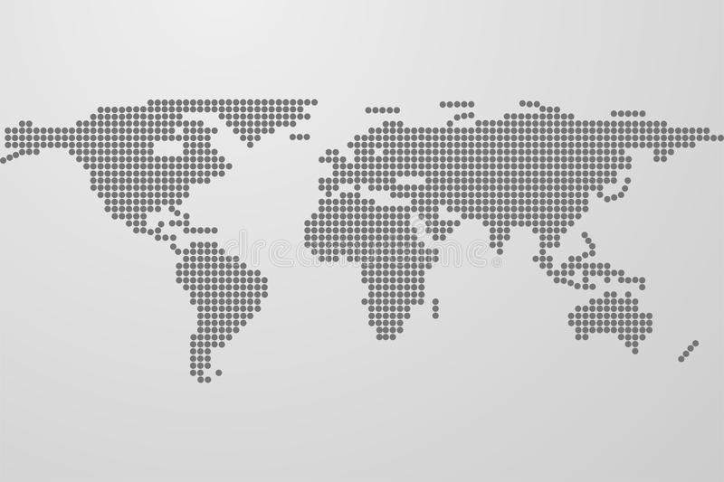 Dotted world map on gray gradient background. World map from black dots. Dots in shape of world map with continents. royalty free illustration