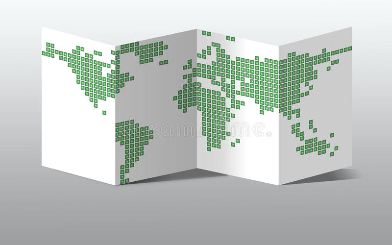 Dotted World Map On Paper Stock Image