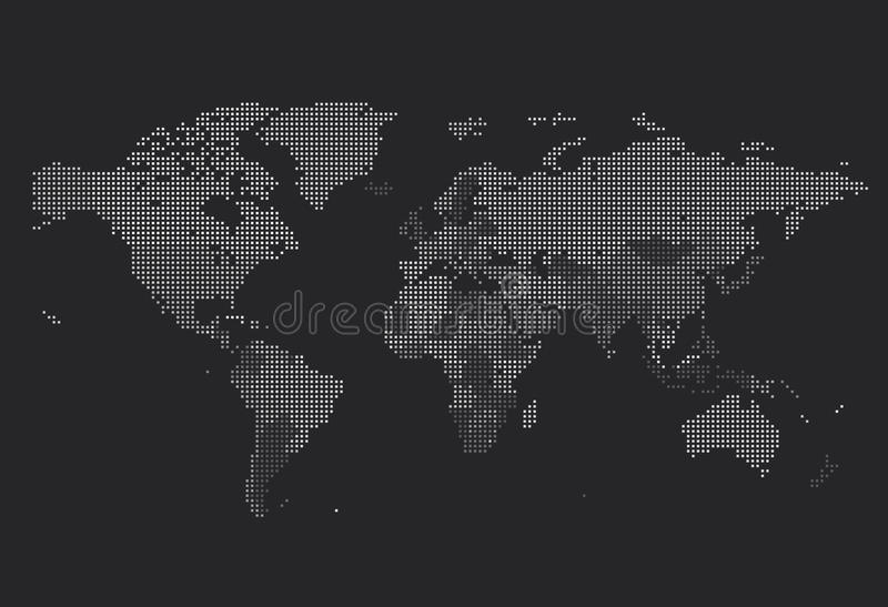 Dotted World map of square dots royalty free illustration