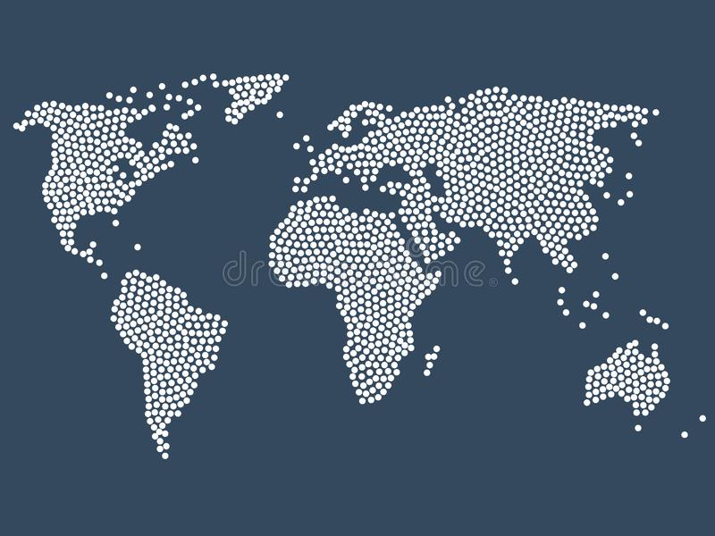 Dotted world map, stock vector illustration vector illustration