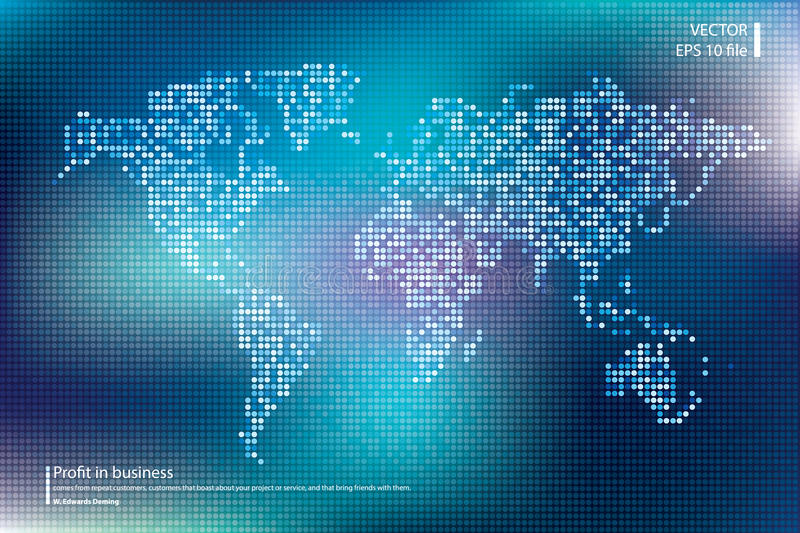Dotted world map vector illustration. Business concept about world map global elements. Blue technology colors. Dotted world map vector illustration. Business vector illustration